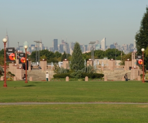 Photograph of the Quad with the Manhattan skyline in the background.
